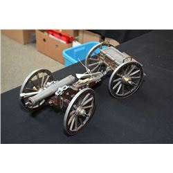 Dahlgren 1861 Marked Scale Model Cannon with wood and metal wheels, w/ ammo box trailer - barrel 6 1