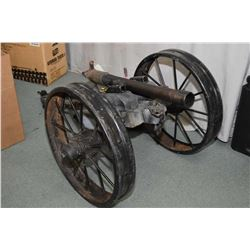 "Hand Made Cannon w/ approx. 30"" barrel - 2"" bore - approx. 26"" Diameter Wheels - w/ adjustable eleva"