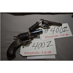 Lot of Two 12 - 6 Prohib Handguns - Unknown Belgian Model Velo Dog Type .32 Cal 6 Shot Revolver w/ 6