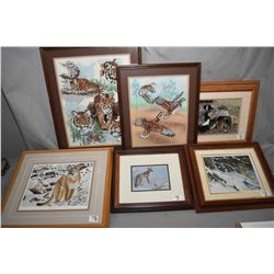 Lot of Six Framed Pictures : Two Needlework Pictures [ Tigers & Game Birds ] - Limited Edition Print