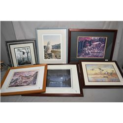 """Lot of Six Framed Pictures : Limited Edition Print # 1013/ 4950 by Paul Larrabee """" A Cougar's Kingdo"""