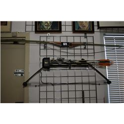 Lot of Two Items : Browning Fox II Compound Bow Right Hand w/ three arrows & quiver, adjustable rang