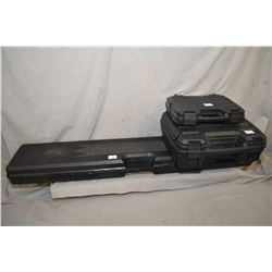Lot of Three Items : Black Plastic Foam Lined Rifle Case - Two Black Plastic Foam Lined Pistol Cases