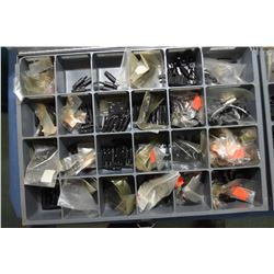Two metal divided drawers containing assorted screws, mounts, sights plus firearm tool insert bits e