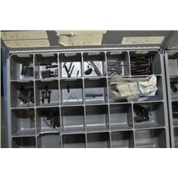 Two metal divided drawers containing assorted hardware, springs, roll pins etc.