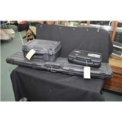Seven soft gun cases, a hard rifle case and two hard pistol cases