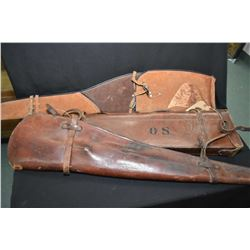 Three leather rifle scabbard