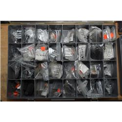 Three divided plastic container and contents including assorted sight steps, optic covers plus new i