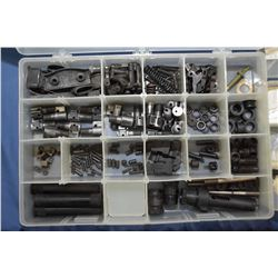Three plastic divided containers filled with assorted parts including sling mounts, optic mounts, bo