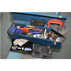 Aluminium and steel shooting rest and a tool box with assorted hand tools including gunsmith specifi