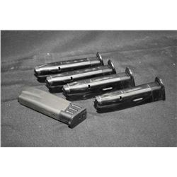 Five used ten round Smith & Wesson MMP 9mm magazines