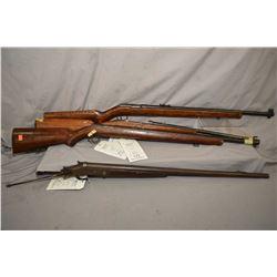 Four long guns including H&R hinge break 12 gauge shot gun, no stock, and an unknown .22 mag fed rif