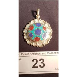 Mexican Silver Turquoise, Lapis & Red Stone Pendant