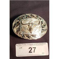 Mexican Steer Head Belt Buckle, marked .925
