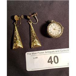 Pair of Screw Type Sterling Earrings & Small Asian Watch