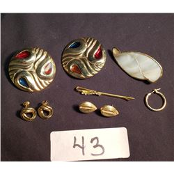 Misc. Costume Jewelry, 3 Pairs of Earrings, Mother of Pearl Brooch & Fancy Bobby Pin