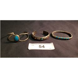 3 Mexican Bracelets, 2 Marked .925 Inlaid Turquoise