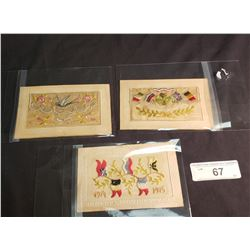3 WW1 Hand Embroidered Post Cards