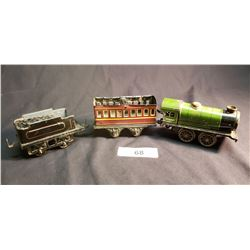 Clockwork Hornby Train by Meccano Engine, Tender & Car w/ Box Lid