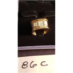 18ct White & Yellow Gold Ring Set w/One .51ct Diamond & Two Princess Cut Diamonds.