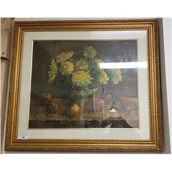 Vintage Framed  Oil Painting on Canvas Behind Glass