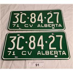 NOS Pair of 1971 Alberta Plates