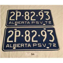 NOS Pair of 1972 Alberta Plates