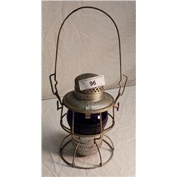 CNR Kerosene Railway Lamp, Cobalt Lens, Hiram L Piper Co. LTD