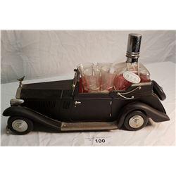 Vintage Auto Liquor Set w/ 1 Bottle & 6 Shot Glasses