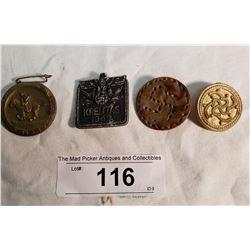 4 German Prewar Pins, 2 Metal & 2 Plastic. Made to Raise Money for Hitler's Campaign