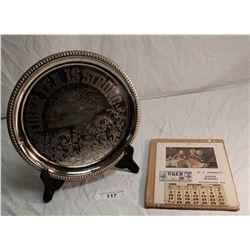 1909 Tiger Ceylon Tea Calendar & Matching Chrome Plated Tray