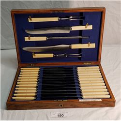 Henry Birks & Sons Meat Carving Set & Knives in Oak Box w/ Ivory Handles