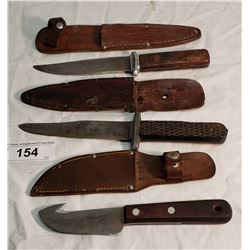 3 English Hunting Knives in Sheaths