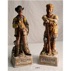 Pair of 1969 Lionstone Whiskey Decanters, Cowboy & Mountain Man