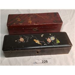 2 Lacquerware Asian Boxes, 1 w/ Mother of Pearl Florals & Birds