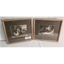 2 Engravings in Matching Frames, Rooster & Cat, Lobster & Fish