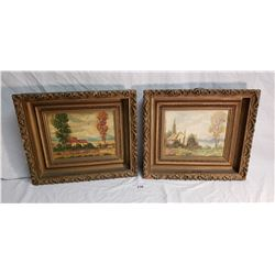 Gramed Vintage Painting of House & Cake & Painting of Farm house, Signed T. Paine