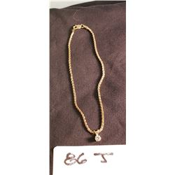 14ct Gold Chain Bracelet w/Diamond Pendant