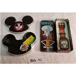 Mickey Mouse & Squidward Watches in Tin Boxes