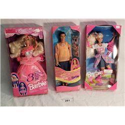 1 Ken & 2 Barbies in Original Packaging