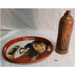 Oval Coke Tray & Stoneware Liquor Bottle