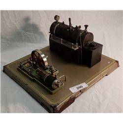 Vintage Large Toy German Steam Engine & Boiler on Platform