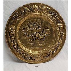 Brass Relief Charger Horse & Carriage Scene