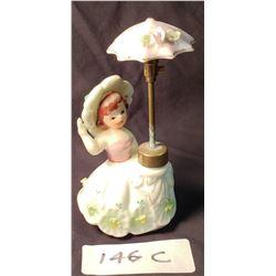 Antique Porcelain Perfume Atomizer , Umbrella Girl