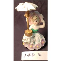 Antique Porcelain Perfume Atomizer, Umbrella Girl