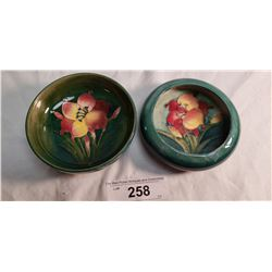 2 Moorcroft Bowls, One Has Colored in Rim Damage