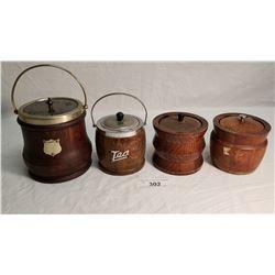 4 Vintage Wooden Biscuit Barrels