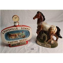 Jim Beam Appaloosa Horse Decanter & Jim Beam Louisville Downs Decanter