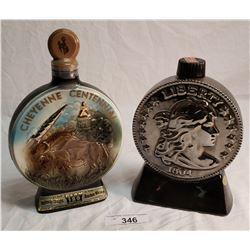Jim Beam Cheyenne Centennial Decanter & Heritage USA Liberty 1804 Coin Decanter