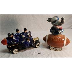 Jim Beam Elephant on Football Field Decanter & Ezra Brooks Police Car w/ 7 Police